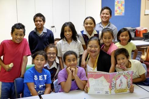 Holy Family School children at Homework HELP Club