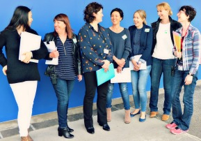 Stacey Shortall standing with other Mothers Project volunteer lawyers at Auckland Region Women's Corrections Facility