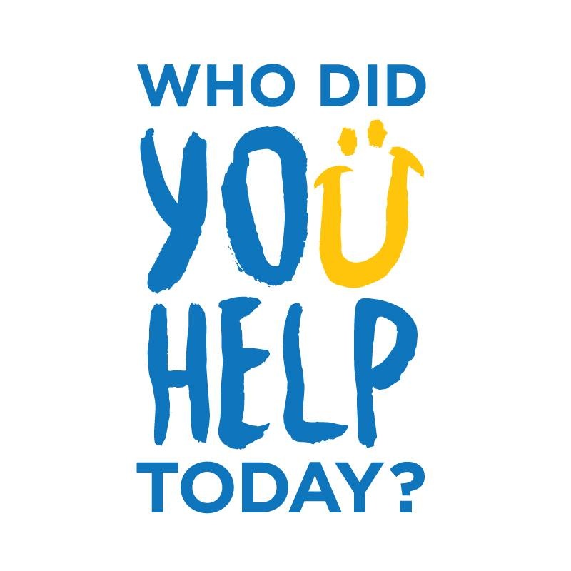 Logo for Who Did You Help Today in blue and yellow